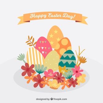 Sfondo di pasqua con le uova e fiori