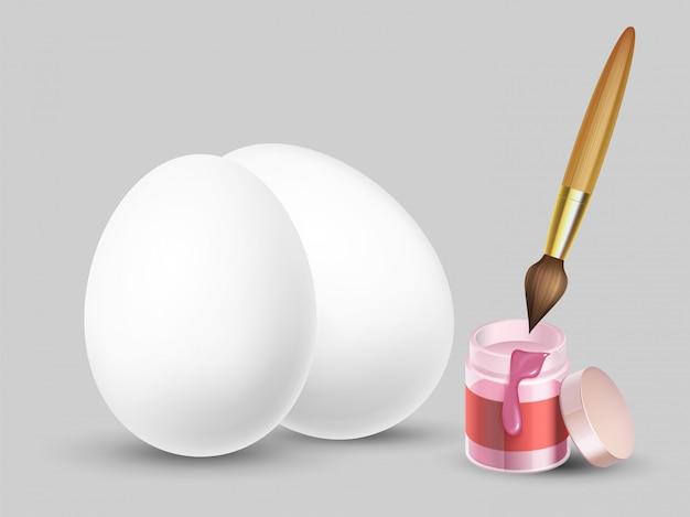 Sfondo di pasqua con realistiche uova bianche, pennello e vernice