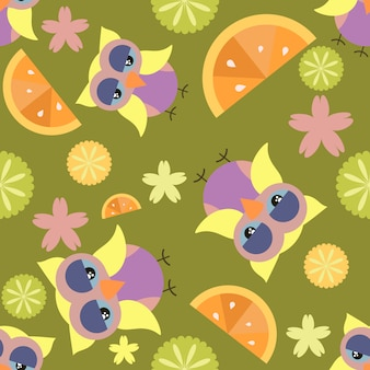 Sfondo di pattern di gufo e frutta