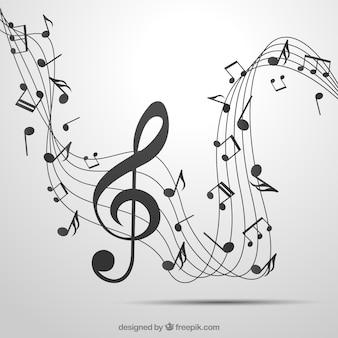 Sfondo di pentagramma grigio e clef con tre note con note musicali