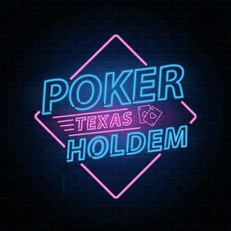 Sfondo di poker casinò con neon che segna l'alfabeto