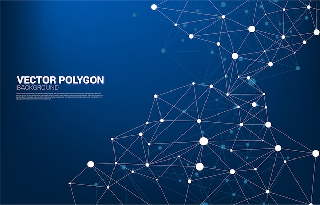 Sfondo di poligono punto di collegamento di rete network business, tecnologia, dati e chimica. la linea dot connect lo sfondo astratto rappresenta la rete futuristica e la trasformazione dei dati