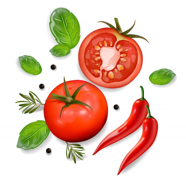Sfondo di pomodoro e peperoncino