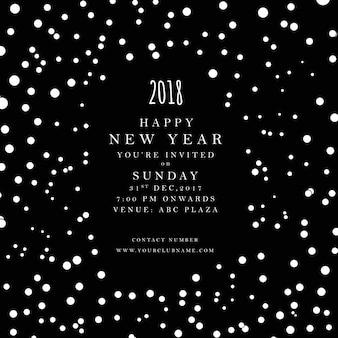 Sfondo di poster di felice anno nuovo in bianco e nero 2018