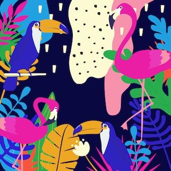 Sfondo di poster tropicale con fenicotteri e tucani