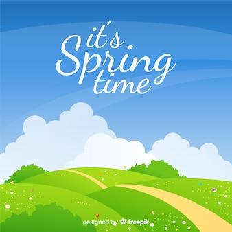 Sfondo di primavera campo piatto