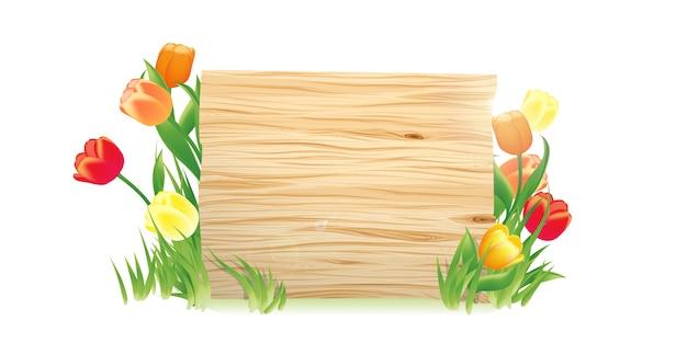 Sfondo di primavera con cartello in legno