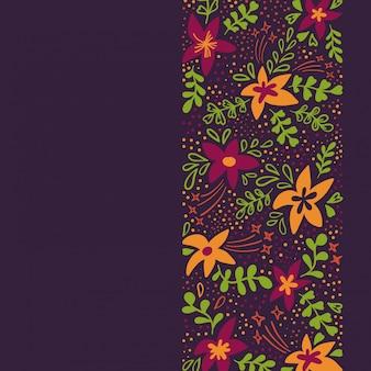 Sfondo di primavera con fiori colorati carini in stile piano. illustrazione vettoriale