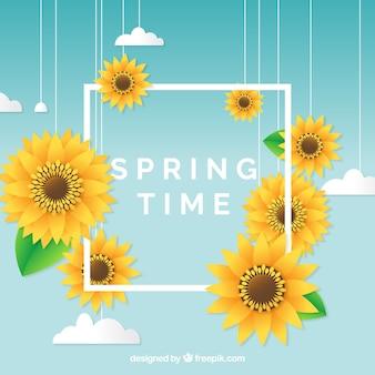 Sfondo di primavera con il concetto di telaio