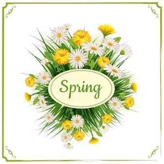 Sfondo di primavera fresca con erba, denti di leone e margherite. vettore