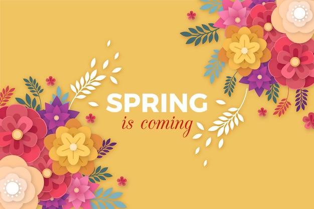 Sfondo di primavera in stile carta