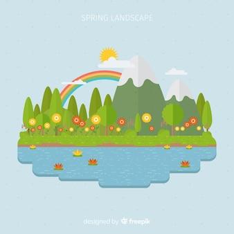 Sfondo di primavera lago piatta