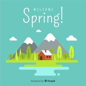 Sfondo di primavera montagna piatta