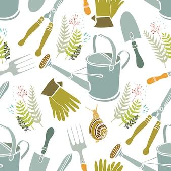 Sfondo di primavera, utensili da giardinaggio e lumache