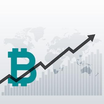 Sfondo di progettazione grafico crescita bitcoin verso l'alto