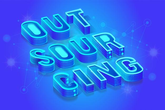 Sfondo di proiezione isometrica di outsourcing