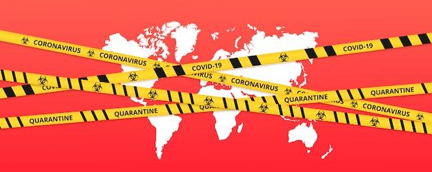 Sfondo di quarantena del bordo del nastro di blocco sopra il mondo. avvertenza coronavirus in quarantena strisce gialle e nere