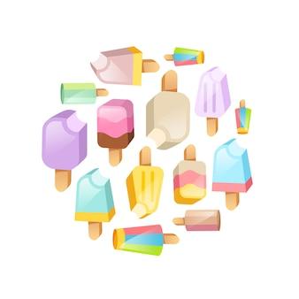 Sfondo di raccolta gelato. vari gelati su un bastone situato su un cerchio
