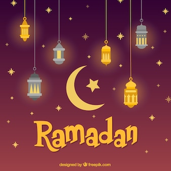 Sfondo di ramadan con diverse lampade