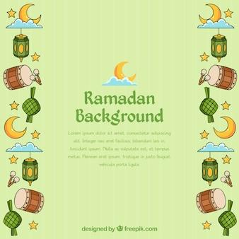 Sfondo di ramadan con elementi musulmani