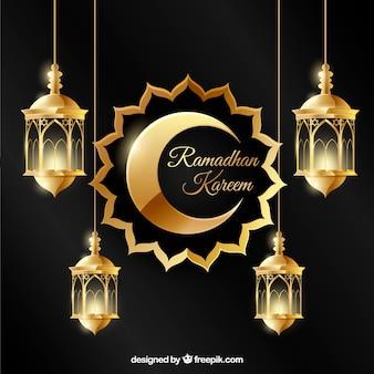 Sfondo di ramadan con lampade in stile realistico