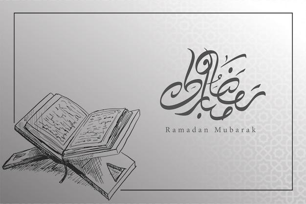 Sfondo di ramadan in bianco e nero con il libro