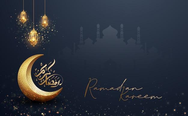 Sfondo di ramadan kareem con combinazione di lanterne, calligrafia araba e moschea.