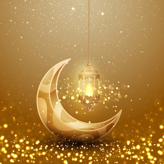Sfondo di ramadan kareem con lanterna appesa incandescente e la luna.