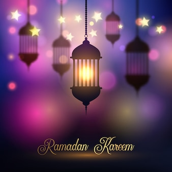 Sfondo di Ramadan Kareem con lanterne appese