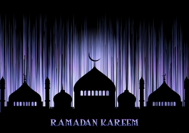 Sfondo di ramadan kareem con sagome moschea