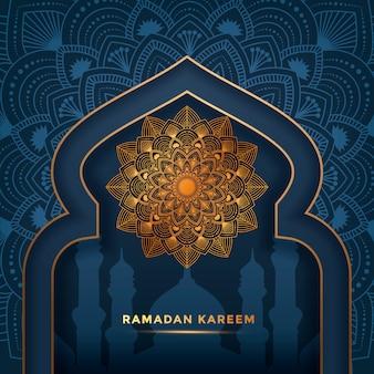 Sfondo di ramadan kareem mandala di lusso, cartolina d'auguri
