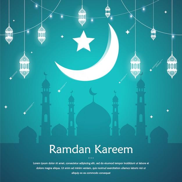 Sfondo di ramadan kareem per modello di post social media con motivo islamico e lanterna.