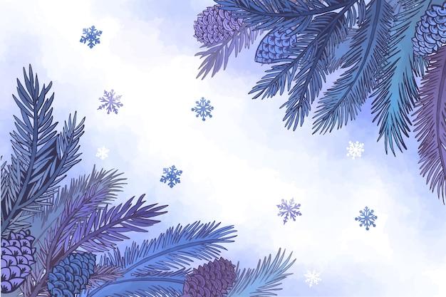 Sfondo di rami di albero di natale dell'acquerello