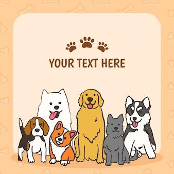 Sfondo di razze canine con posto per il testo