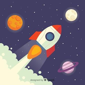 Sfondo di razzi con pianeti