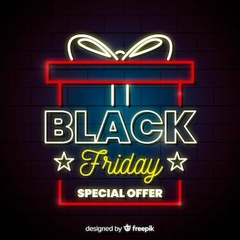 Sfondo di regalo al neon nero venerdì