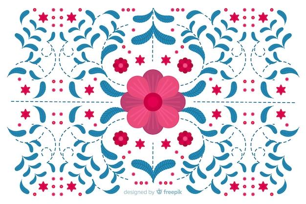 Sfondo di ricamo floreale blu piatto