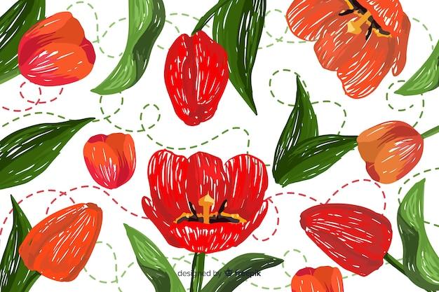 Sfondo di ricamo floreale disegnato a mano