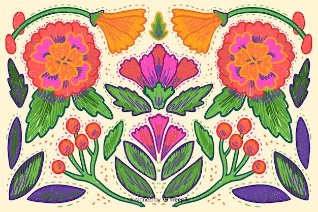 Sfondo di ricamo floreale