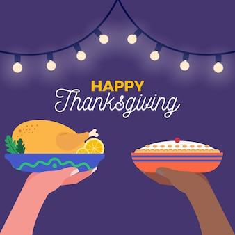 Sfondo di ringraziamento con tacchino e torta