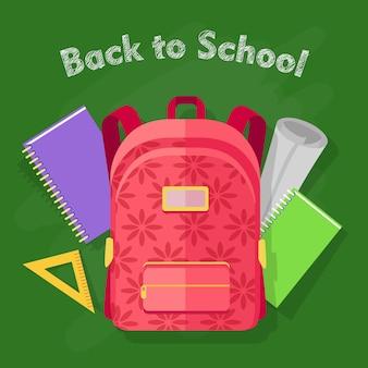 Sfondo di ritorno a scuola con zaino rosso con stampa floreale