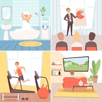 Sfondo di routine quotidiana. priorità bassa del fumetto di uomo d'affari occupato stile di vita quotidiano mattina pomeriggio sera sera notte