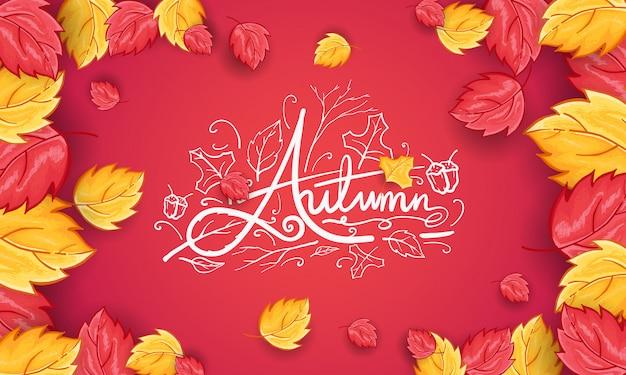 Sfondo di saluto autunno felice disegnato a mano