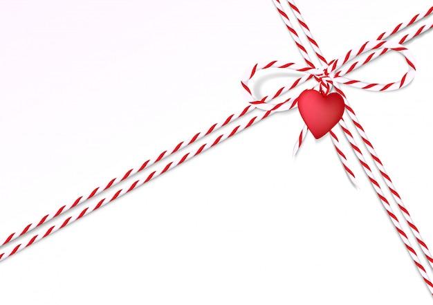 Sfondo di san valentino con corda e cuore