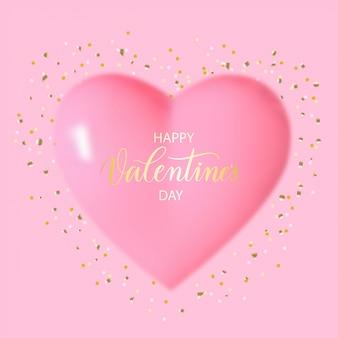 Sfondo di san valentino con cuore rosa e scritte in oro.