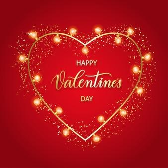 Sfondo di san valentino con cuore rosso 3d, luci e scritte.