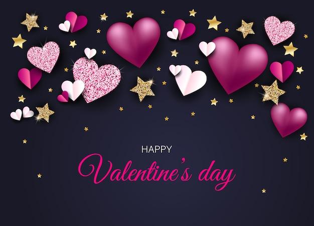 Sfondo di san valentino con cuori lucenti. illustrazione della carta di san valentino.