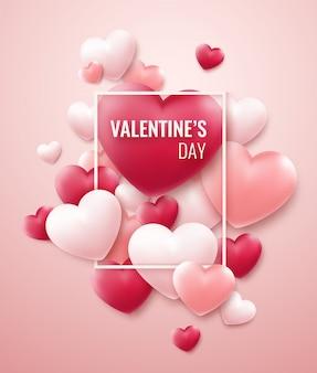 Sfondo di san valentino con cuori rossi, rosa e cornice per il testo