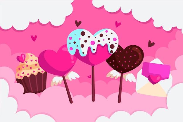 Sfondo di san valentino con dessert