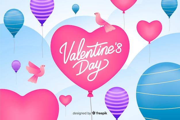 Sfondo di san valentino con palloncini e uccelli